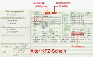 Alter KFZ-Schein