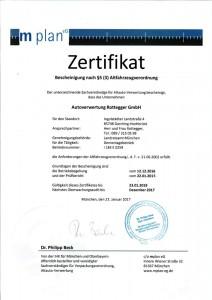 Zertifikat Altfahrzeug-Verordnung 2017